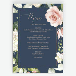Navy, Blush & Rose Gold Floral Menu