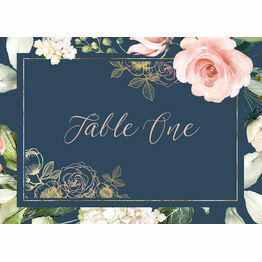Navy, Blush & Rose Gold Floral Table Name