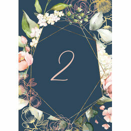 Navy, Blush & Rose Gold Floral Table Number