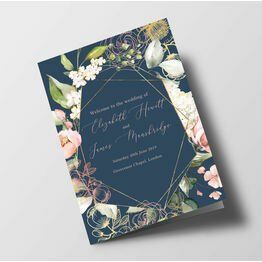 Navy, Blush & Rose Gold Floral Wedding Order of Service Booklet