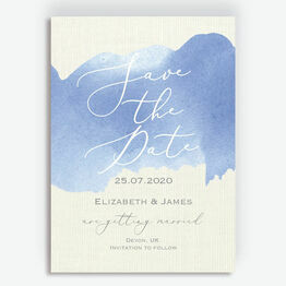 Pastel Blue Watercolour Wedding Save the Date
