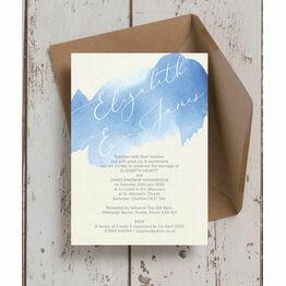 Pastel Blue Watercolour Wedding Invitation