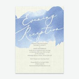 Pastel Blue Watercolour Evening Reception Invitation
