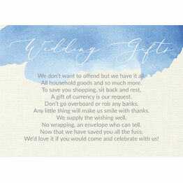 Pastel Blue Watercolour Gift Wish Card