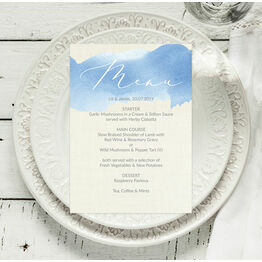 Pastel Blue Watercolour Menu