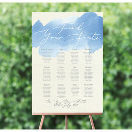 Pastel Blue Watercolour Wedding Seating Plan