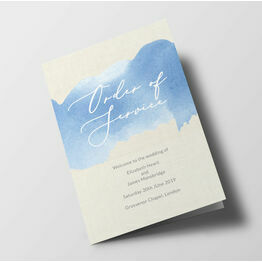Pastel Blue Watercolour Wedding Order of Service Booklet