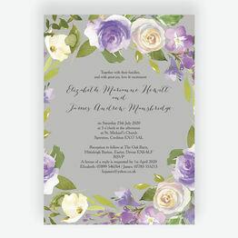 Pastel Lilac Flowers Wedding Invitation