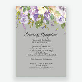 Pastel Lilac Flowers Evening Reception Invitation