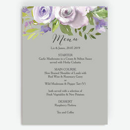 Pastel Lilac Flowers Menu