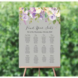 Pastel Lilac Flowers Wedding Seating Plan