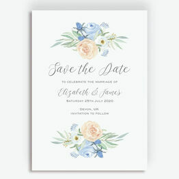 Peach & Blue Floral Wedding Save the Date