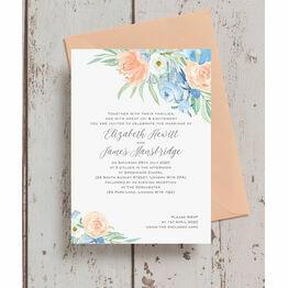 Peach & Blue Floral Wedding Invitation