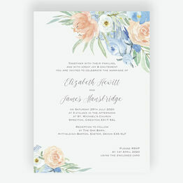 Peach & Blue Floral Wedding Invitation