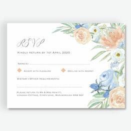 Peach & Blue Floral RSVP