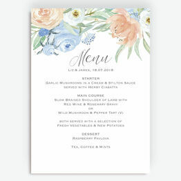 Peach & Blue Floral Menu