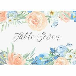 Peach & Blue Floral Table Name