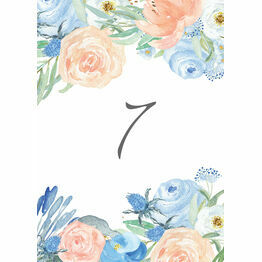 Peach & Blue Floral Table Number