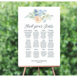 Peach & Blue Floral Wedding Seating Plan