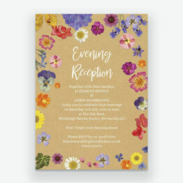 Pressed Flowers Evening Reception Invitation