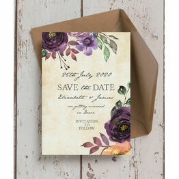 Purple Floral Wedding Save the Date