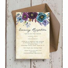 Purple Floral Evening Reception Invitation