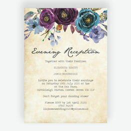 Purple Floral Evening Reception Invitation