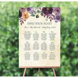Purple Floral Wedding Seating Plan