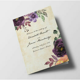 Purple Floral Wedding Order of Service Booklet