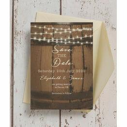 Rustic Barrel & Fairy Lights Wedding Save the Date
