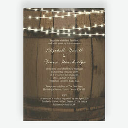 Rustic Barrel & Fairy Lights Wedding Invitation