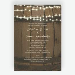 Rustic Barrel & Fairy Lights Wedding Invitation