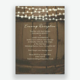 Rustic Barrel & Fairy Lights Evening Reception Invitation