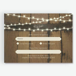 Rustic Barrel & Fairy Lights RSVP