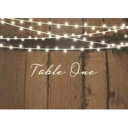 Rustic Barrel & Fairy Lights Table Name