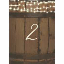 Rustic Barrel & Fairy Lights Table Number