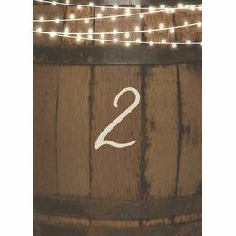 Rustic Barrel & Fairy Lights Table Number