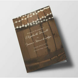 Rustic Barrel & Fairy Lights Wedding Order of Service Booklet