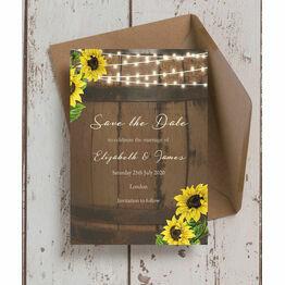 Rustic Barrel & Sunflowers Wedding Save the Date
