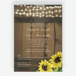 Rustic Barrel & Sunflowers Wedding Invitation