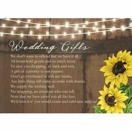 Rustic Barrel & Sunflowers Gift Wish Card