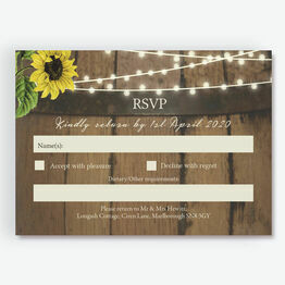 Rustic Barrel & Sunflowers RSVP