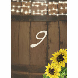 Rustic Barrel & Sunflowers Table Number