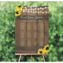 Rustic Barrel & Sunflowers Wedding Seating Plan