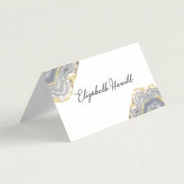 Agate Crystal Folded Wedding Place Cards