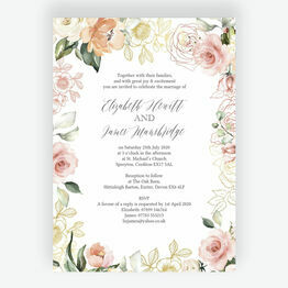 White, Blush & Rose Gold Floral Wedding Invitation