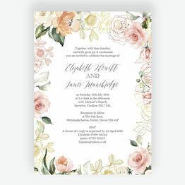 White, Blush & Rose Gold Floral Wedding Invitation
