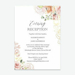 White, Blush & Rose Gold Floral Evening Reception Invitation