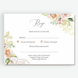 White, Blush & Rose Gold Floral RSVP