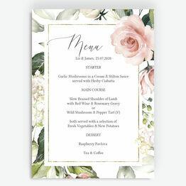 White, Blush & Rose Gold Floral Menu